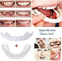 2ペア義歯カバー、歯コンフォートフィット義歯歯トップ化粧ベニアシミュレーションブレース、化粧歯