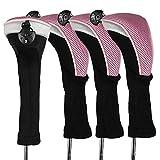 Andux 4piezas/Unidades, cuello largo fundas de cabeza de palo de golf híbridos con intercambiable No. Etiqueta ctmt-02, rosa