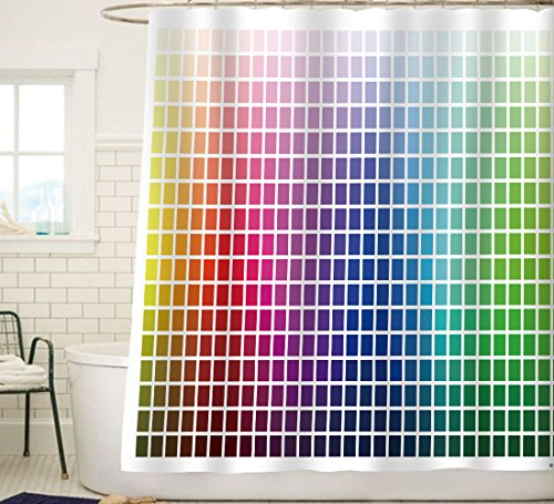 Sunlit Designer Essential Decor Color Chart Fabric Shower Curtain Colorful Home Decor Backgound Curtain Rainbow Blue Green Beige Teal Brown Yellow Red Gray -White