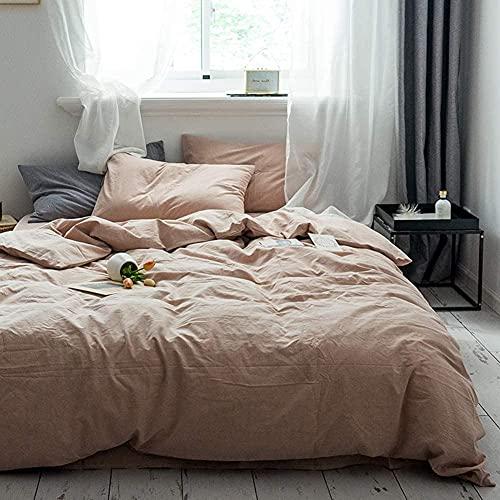 Cubierta de edredón de algodón lavado Cubierta de acolchado de color sólido Cubierta de edredón de color sólido Conjunto de lecho suave con botón de cierre Mujeres 1 pieza N gemelo-I_King-220x240