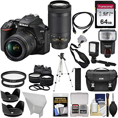 Nikon D3500 Digital SLR Camera & 18-55mm VR & 70-300mm DX AF-P Lenses with 64GB Card + Case + Flash + Tripod + LED Light + 2 Lens Kit