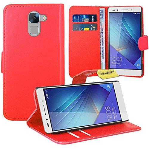 Huawei Honor 7 Handy Tasche, FoneExpert® Wallet Hülle Flip Cover Hüllen Etui Ledertasche Lederhülle Premium Schutzhülle für Huawei Honor 7 (Rot)