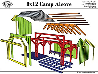 Step-By-Step DIY PLANS - Timber Frame Post and Beam Adirondack Lean-To Shelter Plans - 8x12 Camp Alcove - Small Camping Structure with Built-in Bench - Step-By-Step DIY Plans (8x12)