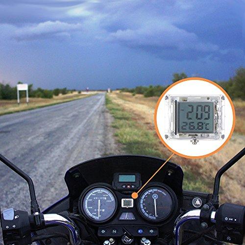 """FORNORM Autouhr Digital Beleuchtet Uhr Fahrrad, Motorrad Uhren Wasserdicht, Uhren Batterien mit 12h Format Zeit und Temperaturanzeige für Auto Fahrrad, 3M sticker, 1.4 * 1.2 * 0.4\"""" (D*H)"""