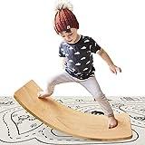 Wooden Wobble Balance Board with Play Mat Waldorf Toys Balance Board Kid Yoga Board Curvy Board - Wooden Rocker Board 35 Inch