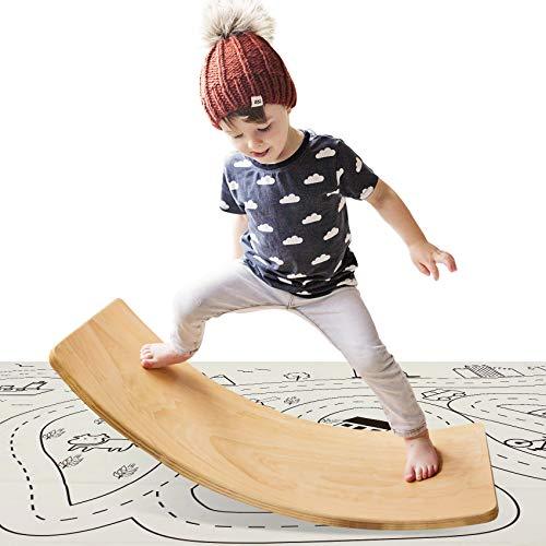 HAN-MM Wooden Wobble Balance Board with Play Mat Waldorf Toys Balance Board Kid Yoga Board Curvy Board - Wooden Rocker Board 35 Inch