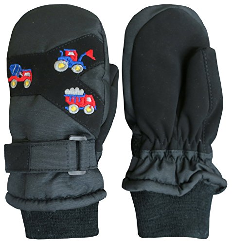 N'Ice Caps Kids and Baby Thinsulate Waterproof Colorblock Ski Snow Mittens (Black/Trucks Embroidery, 2-3 Years)
