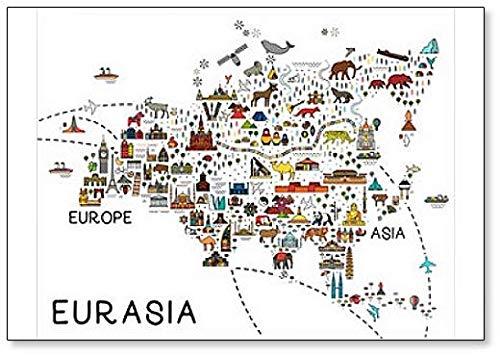 Eurasia Map.eurasia Travel Guide.travel Illustratie met Dieren en Bezienswaardigheden Koelkast Magneet
