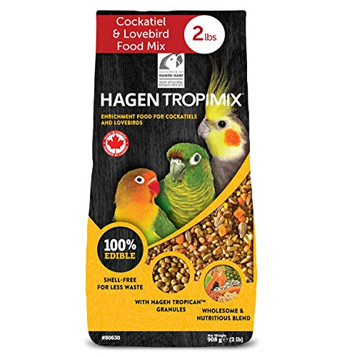 HARI Tropimix Bird Food for Cockatiels & Lovebirds, Parrot Food with Seeds, Fruit, Vegetables, Grains, Vitamins & Amino Acids, 2lb Bag