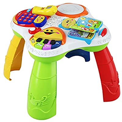 Baby Joy Toddler Learning Table, 2 in 1 Sit to Stand Multi-Color Early Education Toy, Convertible Activity Center Game Table w/ Sound, Light, Music Functions (Multicolor)