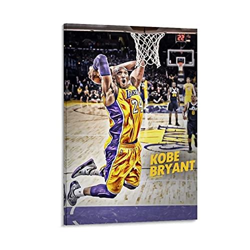 Ghychk Póster deportivo de Kobe-Bean-Bryant de la colección de arte de baloncesto, 30 x 45 cm, pintado en 3D sobre lienzo para niños