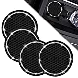 Bling Car Cup Coasters (4 Pack Black), CLZWiiN 2.75 Inch Car Cup Holder Insert Coasters, Soft Rubber Universal Anti-Slip Crystal Cup Mat, Auto Cup Holder for Drink Coaster, Suitable for Most Car