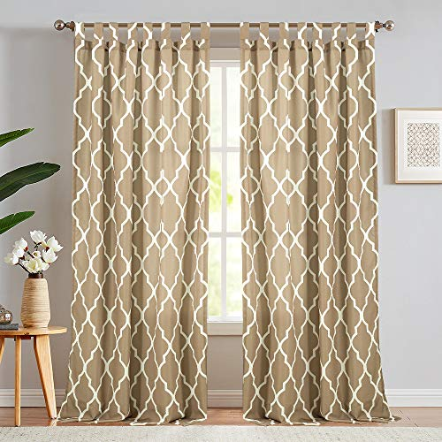 jinchan Moroccan Tile Printed Curtains for Living Room Bedroom Canvas Waterproof Tab Top Window Drapes 1 Panel 95 inch Taupe