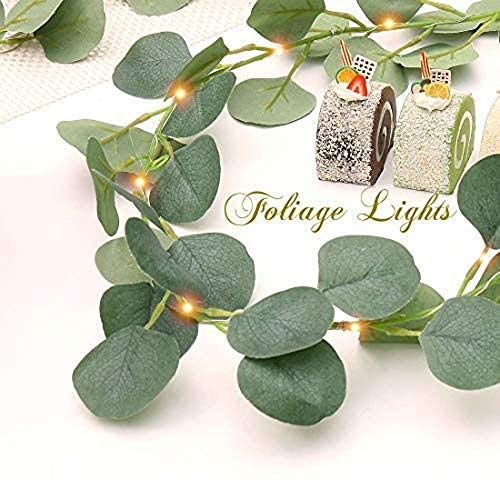 FUCHSUN $$$ Artificial Eucalyptus Leaves Foliage Light Strings, 6.6Ft, 20 LED Warm White Greenery Vines Garland and Table Runner,6hrs Timer Battery Operated