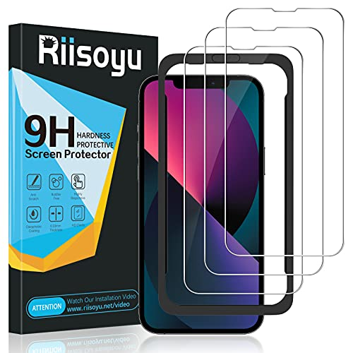 Riisoyu 3 Stück Panzerglas Kompatibel mit iPhone 13/iPhone 13 Pro - 6,1 Zoll, 9H Härte Panzerglasfolie mit Positionierhilfe, HD Klar Schutzglas Anti-Kratzen, Anti-Bläschen Displayschutzfolie
