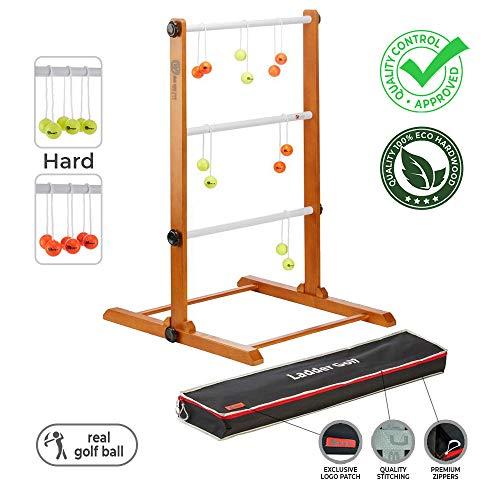 Ubergames Original 2020 Leitergolf Spiel - Top Qualität Leiterspiel Wurfspiel - mit offizielle Golf Bolas (Gelb und Orange)