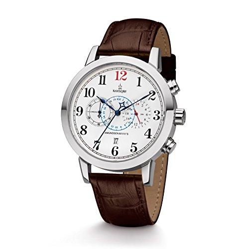 Kronsegler Amundsen 90°0'0''S Herren Chronograph & Telemeter Stahl-Weiss/braun