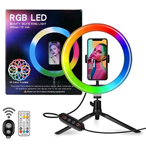 MZBZYU Aro De Luz Victsing, Anillo De Luz Trípode LED 10', Regulables Wireless Control Remoto, para Movil TIK Tok, Maquillaje, Selfie, Streaming, Youtube