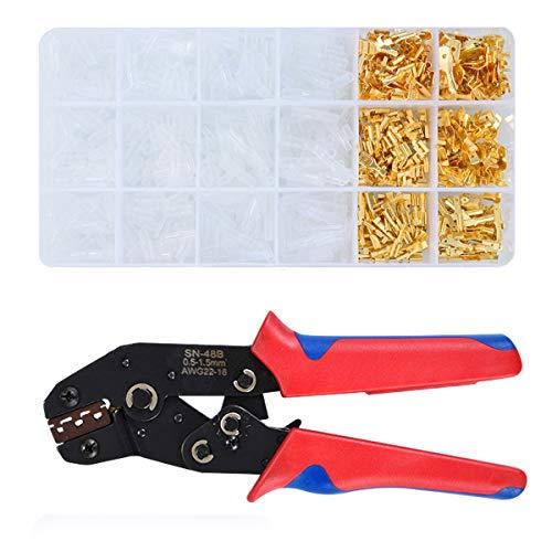 Pinza Crimpatrice set, Pinze Crimpatrice con 600 Manicotti Piatti Connettore 0.5-1.5 mm² per Terminale a Crimpare 2,8mm/ 4,8mm/ 6,3mm