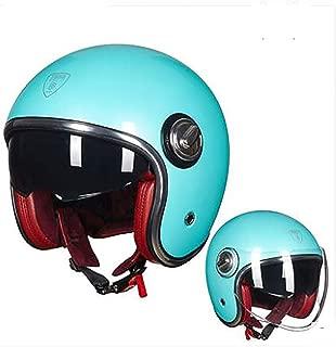 MMGIRLS Motorcycle Open face Half Helmet Men and Women Four Seasons Universal Harley Helmet Double Lens Retro Motorcycle Helmet - Bright Metal Fresh Blue,M