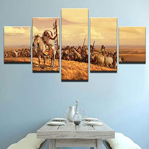 FJKYF 100×55cm 5 Unidades Lienzo Pintura tribus Pintura decoración del hogar impresión Cartel Arte de la Pared Cartel Modular Imagen Sala de Estar