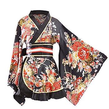 HongH Kimono Bathrobe Costume Japanese Traditional Yukata Cosplay Women s Sexy Sakura Pattern  Black  Large