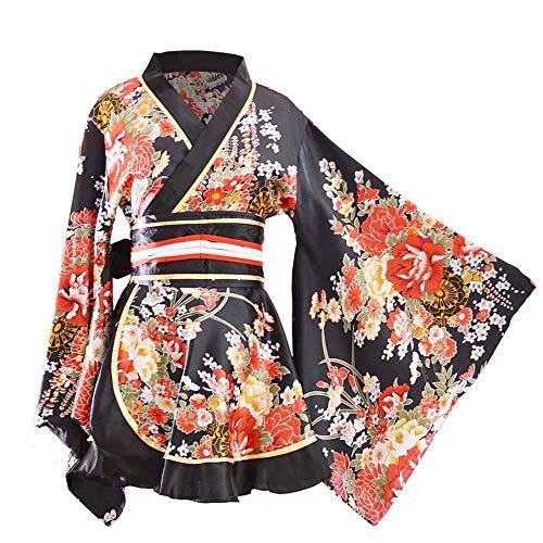 Kimono Bademantel Kostüm Japanisch Traditionell Yukata Cosplay Damen Sexy Sakura Muster Hoch Split Lang Kimono - Schwarz - Groß