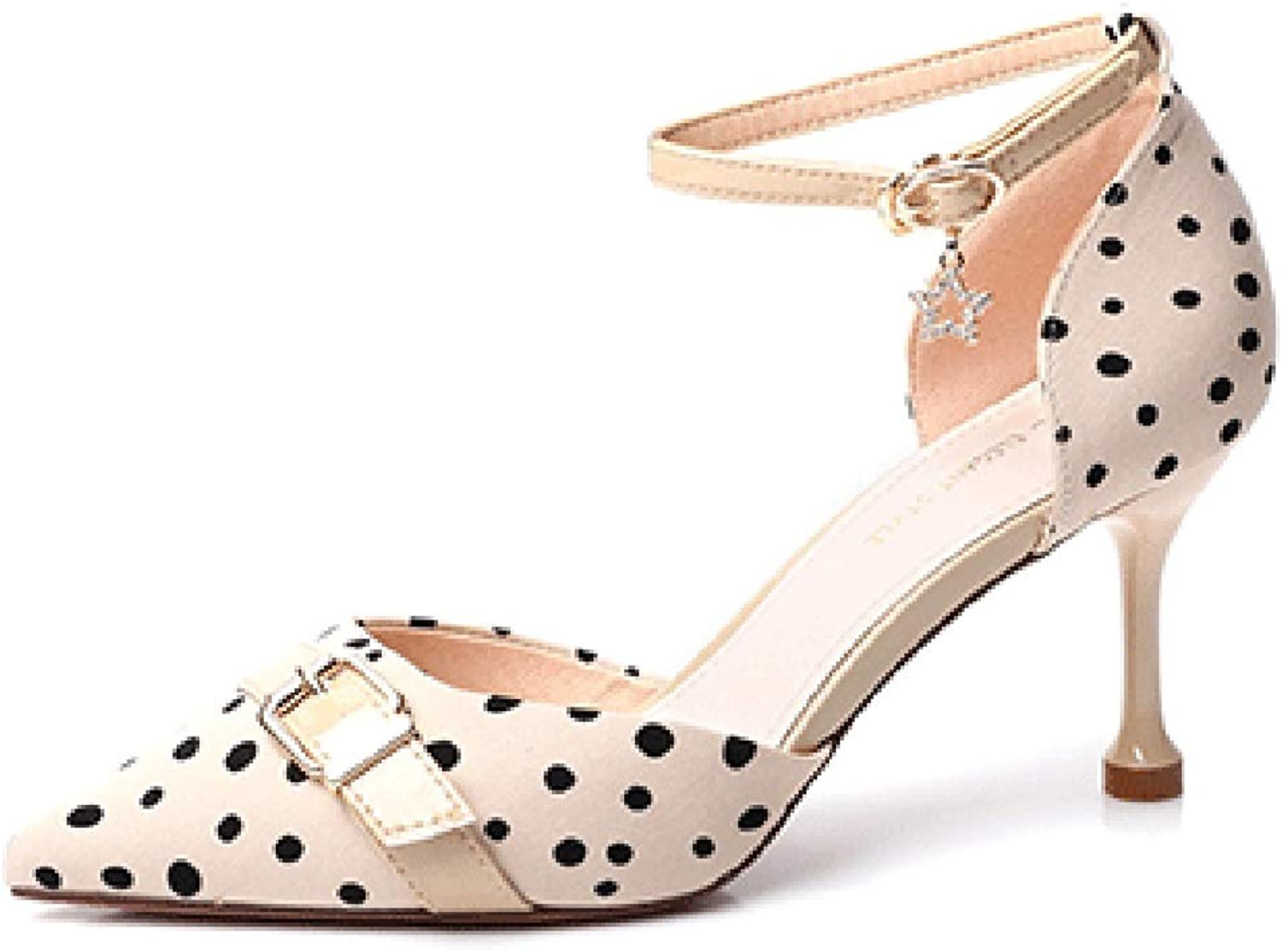 Women's Summer High Heels Stiletto Buckle with Sandals Mid-Heeled Pointed Polka Dot shoes Kitten Heels for Women Mid Heel Sandals for Women, Fashion (color   Beige, Size   38 US7.5)