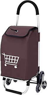 Asdfnfa Shopping Cart Aluminum Folding Trolley Car for The Elderly Lightweight Large Capacity Home Small Cart asdfnfa (Color : Brown)