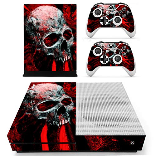 Photo of Adventure Games – XBOX ONE S – Skull, White on Red – Vinyl Console Skin Decal Sticker + 2 Controller Skins Set