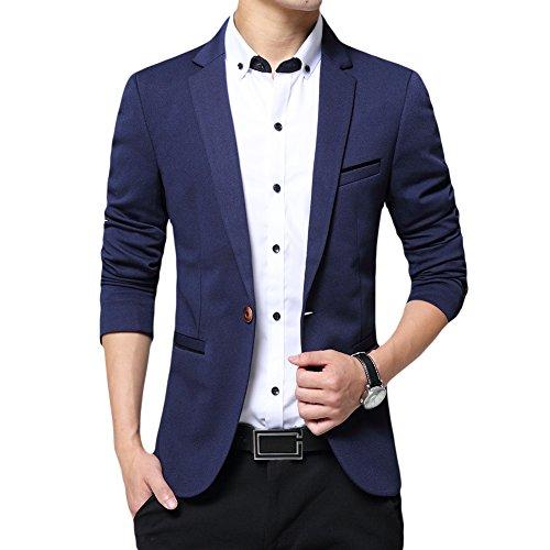 Allthemen Blazer da Uomo Slim Fit con Un Bottone Suit Jacket Giacca Elegante Formale for Wedding Business Evening da Lavoro Blu Scuro L