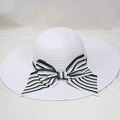 XHCP Ladies Sun Hat Bow Decoration Straw Hat Adjustable Size Outdoor Anti-UV Holiday Sport Beach Cap Foldable for Women