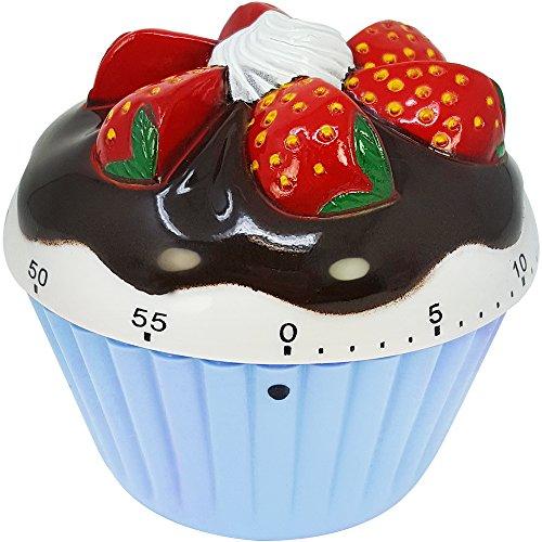 COM-FOUR® Kortvarig väckarklocka i en vacker muffinsdesign, upp till 60 minuter, äggklocka, plastklocka blå ca. 7 x 7 x 4 cm (01 bit - blå)