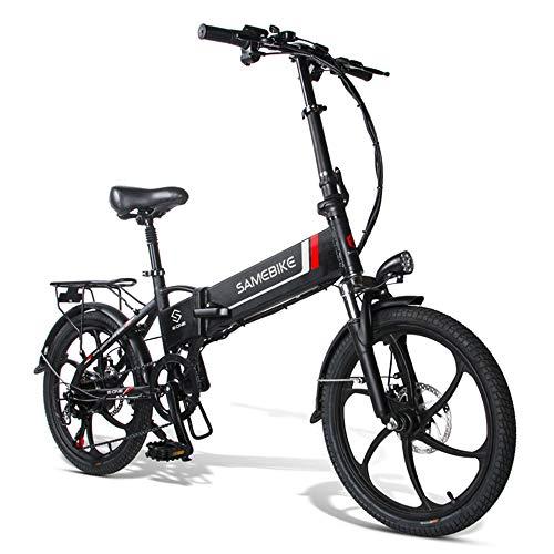 Elektrofahrrad Ebike Klapprad Mountainbike 20 Zoll mit 48V 10,4Ah Lithium-Akku, 350 W Motor 25 km/h, 7-Gang-Diebstahlalarm Smartphone-Halter Elektrische E-Bike MTB für Herren Damen (Schwarz 1)