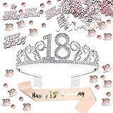 Fiesta temática en oro rosa: puede comenzar su fiesta de cumpleaños número 18 con estilo con esta tiara, faja y confeti para hacer una fiesta temática de cumpleaños en oro rosa.