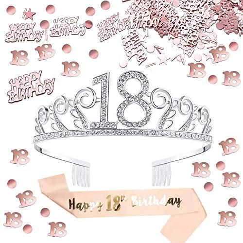 Anyasen coroncina 18 Anni Compleanno Decorazioni Tiara in Strass Birthday Corona 18 Compleanno Happy Birthday 18 Compleanno Coriandoli di Tavolo per Feste di Compleanno Compleanno Decorazioni