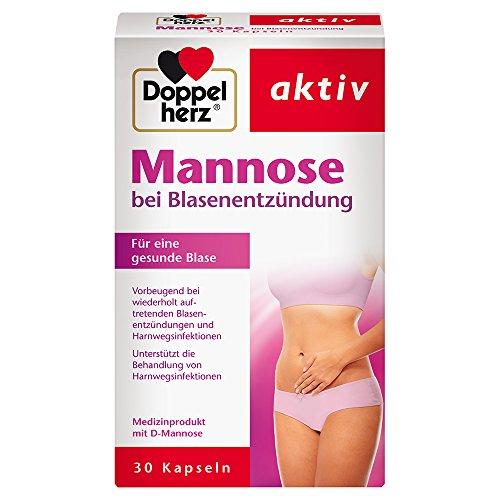 Doppelherz Mannose Kapseln 500 mg / Natürliche D-Mannose zur Unterstützung der Behandlung und Vorbeugung bei Blasenentzündungen / 1 x 30 Kapseln