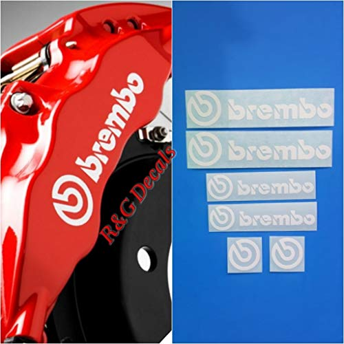R&G Brembo Decal Combo Package for 6 Piston & 4 Piston & Brembo Logos Brake Caliper Decal Sticker High Temp Set of 6 Decals + Instructions + Decal Surface Preparation Solution (White)