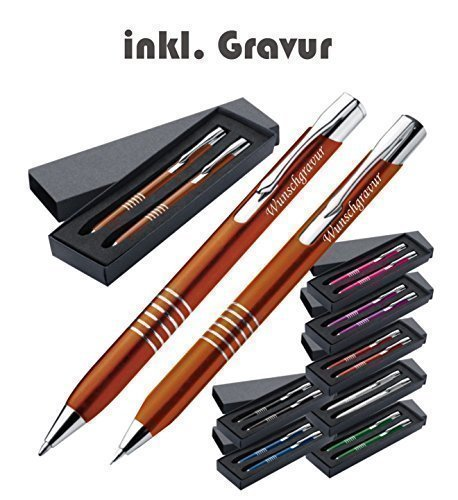 Crisma Exklusives Kugelschreiber Set aus Metall inkl. Gravur graviert Kugelschreiber und Druckbleistift mit Gravur inkl. Geschenketui (schwarz)