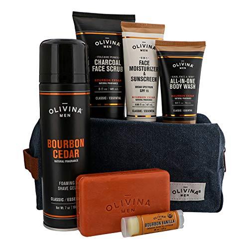 Barrel and Oak - The Total Package Travel Kit, Men's Toiletry Bag Variety Pack, Travel Essentials, Dopp Kit, Body Wash, Bar Soap, Face Scrub, Moisturizer, Shave Gel, & Organic Lip Balm | 7-Pack