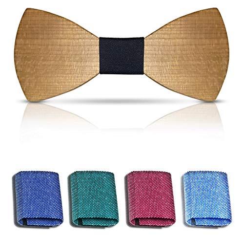 Bellmot 5in1 Holzfliege. Die Holz Fliege für Männer u. Herren in blau, grün, schwarz, rot