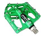FrontStep Pedales Antideslizantes de aleación de Aluminio MTB Ligero/Bicicleta de montaña/Bicicleta/Pedal de Ciclismo/BMX con Pedales de Bicicleta de husillo de Acero CR-Mo (Verde)