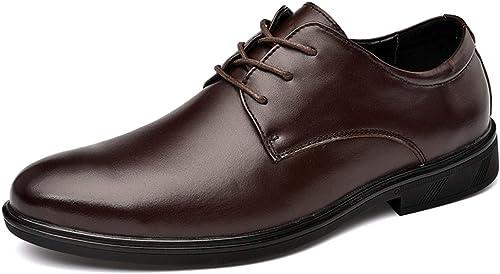 Easy Go Shopping Chaussures Richelieu pour Hommes Chaussures habillées à Lacets Style Cuir Ox Classic Affaires Round Toe Chaussures de Cricket (Couleur   Marron, Taille   46 EU)