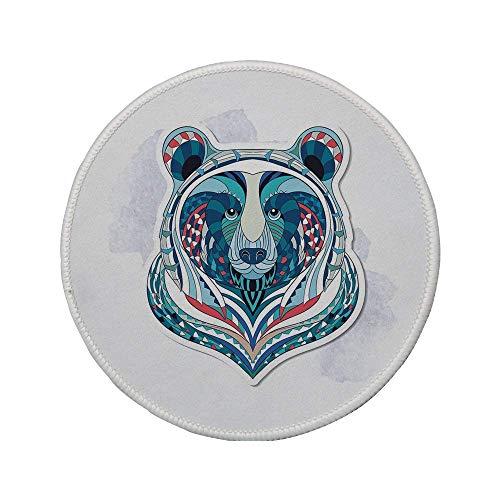 """Rutschfreies Gummi-rundes Mauspad Bär afrikanisch-asiatisches Totem-Tattoo-Design Gemustertes Porträt auf Grunge-Hintergrund Dekorativ Blaue Koralle Hellblau 7.9\""""x7.9\""""x3MM"""