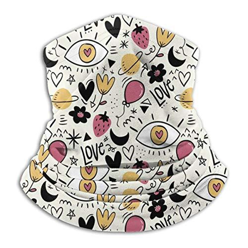 Calentador de Cuello de Microfibra Unisex Corazones de Amor Ilustración Pasamontañas Sombreros Bufanda para Polvo Protección Solar Contra el Viento