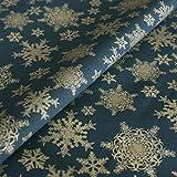 Hans-Textil-Shop Stoff Meterware Sterne Gold auf Grün