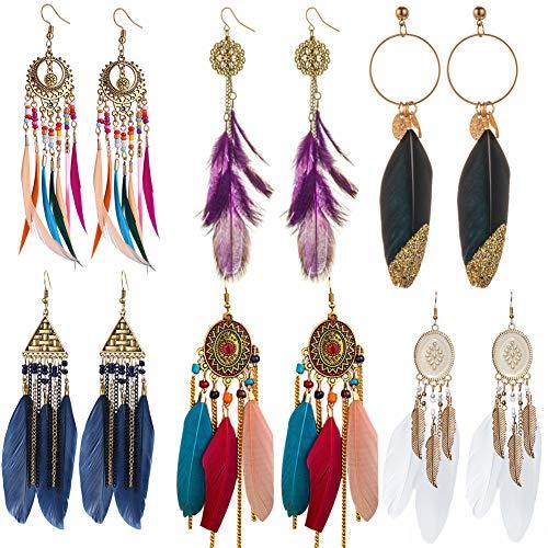 6 Pares Pendientes de Plumas de Imitación Bohemios,Pendientes de plumas bohemios Pendientes Pluma Mujer Pendientes Colgantes pendientes colgantes étnicos largos y coloridos con flecos de plumas