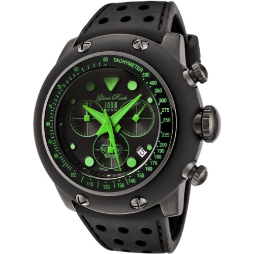 Glam Rock Men's GR90109 Racetrack Collection Chronograph Black Silicone Watch - http://coolthings.us