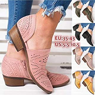 Women Breathable Suede Hollow-Out Zipper Spring Shoes Loafers Comfortable Low Heel Cutout Faux Leather Oxfords Sandals(Army Green,US 8.5/EU 40)