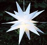 Guru-Shop 3D Außenstern, Weihnachtsstern, Faltstern Kaspar Weiß mit LED, Ø Ca.55 cm, Plastik,...
